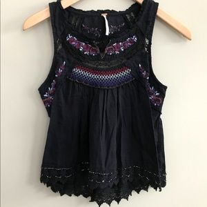 New Free People Black  Tank Top Embroidered Lace